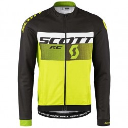 2016 Scott RC Black-White-Green Fluo Cycling Long Sleeve Jersey
