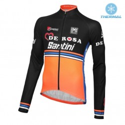 2016 Team DE-ROSA Black-Orange Thermal Cycling Long Sleeve Jersey