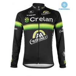 2016 Crelan-AA Drink Black Thermal Cycling Long Sleeve Jersey