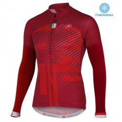 2016 Cаstelli Veleno FZ Red Thermal Cycling Long Sleeve Jersey