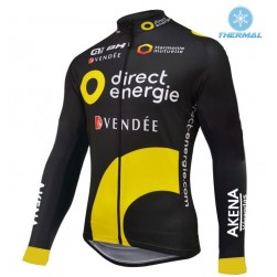 2016 Direct Energie Team Black Thermal Cycling Long Sleeve Jersey