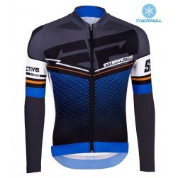 2016 Santini Interactive 3.0 Black-Blue Thermal Cycling Long Sleeve Jersey