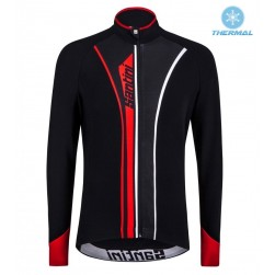 2016 Santini VEGA Black-Red Thermal Cycling Long Sleeve Jersey