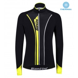 2016 Santini VEGA Black-Yellow Thermal Cycling Long Sleeve Jersey
