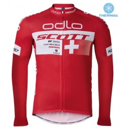 2016 Scott ODLO Team Red Thermal Cycling Long Sleeve Jersey