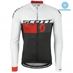 2016 Scott RC White-Black-Red Thermal Cycling Long Sleeve Jersey