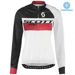 2016 Scott RC White-Black-Red Women Thermal Cycling Long Sleeve Jersey
