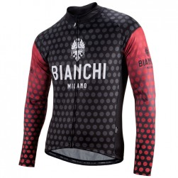 2017 Bianchi Petreso Black-Red Long Sleeve Cycling Jersey