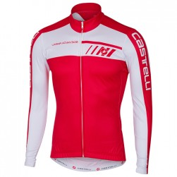 2017 Cаstelli Velocissimo White-Red Long Sleeve Cycling Jersey