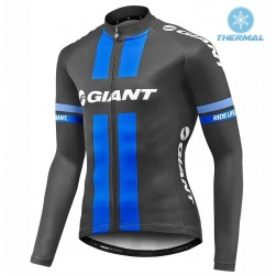 2017 Team Giant Black-Blue Thermal Long Sleeve Cycling Jersey