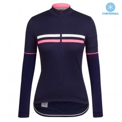 2017 Rapha Brevet Blue-Pink Women Thermal Long Sleeve Cycling Jersey
