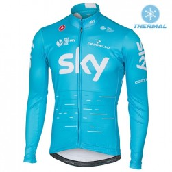 2017 Team Skу Blue Thermal Long Sleeve Cycling Jersey