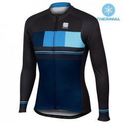2017 Spоrtful Stripe Blue Thermal Long Sleeve Cycling Jersey