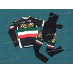 2010 KATUSHA National Champion Italy Black Thermal Cycling Long Sleeve Jersey and Bib Pants Set