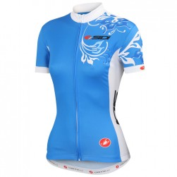 2015 Cаstelli Sidi Flower Blue Women Cycling Jersey