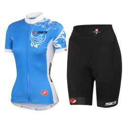 2015 Cаstelli Sidi Flower Blue Women Cycling Jersey And Regular Shorts Set