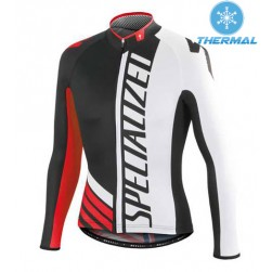2015 SPED SZK Black-White-Red Thermal Cycling Long Sleeve Jersey