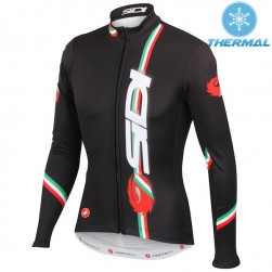 2015 Castelli Sidi Dino Black Thermal Cycling Long Sleeve Jersey