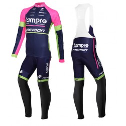 2015 Lampre Merida Long Sleeve Cycling Jersey And Bib Pants