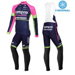 2015 Lampre Merida Thermal Long Sleeve Cycling Jersey And Bib Pants