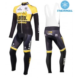 2015 Lotto NL-Jumbo Yellow Thermal Long Sleeve Cycling Jersey And Bib Pants