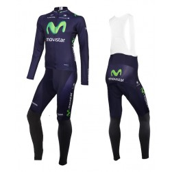 2015 Team Movistar Long Sleeve Cycling Jersey And Bib Pants
