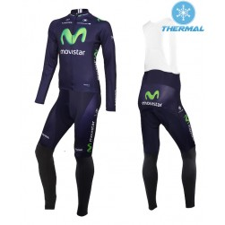 2015 Team Movistar Thermal Long Sleeve Cycling Jersey And Bib Pants