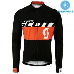 2015 Scott Team Black-Red Thermal Cycling Long Sleeve Jersey