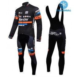 2015 De-Rosa Santini Black Thermal Long Sleeve Cycling Jersey And Bib Pants