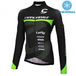 2015 Cannondale Factory Team Black-Green Thermal Cycling Long Sleeve Jersey