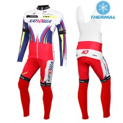 2015 Team Katusha Thermal Long Sleeve Cycling Jersey And Bib Pants