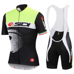 2015 Cаstelli Sidi Pippo Fluo Black Cycling Jersey And Bib Shorts Set
