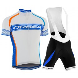2015 Orbea White-Blue Stripe Cycling Jersey And Bib Shorts Set