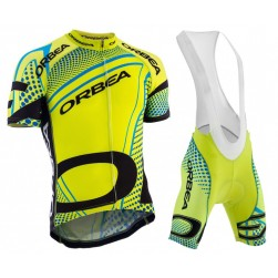 2015 Orbea fluo Yellow With Blue Dot Cycling Jersey And Bib Shorts Set