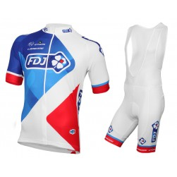 2016 Team FDJ White Cycling Jersey And Bib Shorts Set
