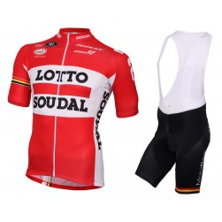2016 Lotto Soudal Red Cycling Jersey And Bib Shorts Set