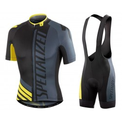 2016 SPED Pro Team SZK Black-Grey-Yellow Cycling Jersey And Bib Shorts Set