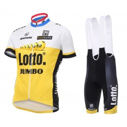 2016 Lotto-Jumbo Yellow Cycling Jersey And Bib Shorts Set