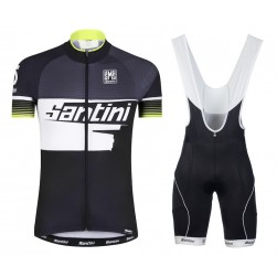 2016 Santini Atom 2.0 Black-White-Green Cycling Jersey And Bib Shorts Set