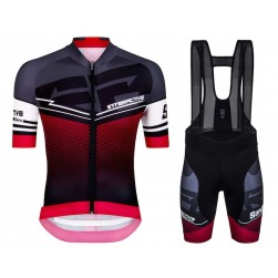 2016 Santini Interactive 3.0 Black-Red Cycling Jersey And Bib Shorts Set