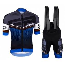 2016 Santini Interactive 3.0 Black-Blue Cycling Jersey And Bib Shorts Set