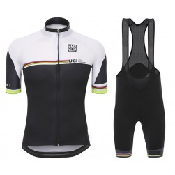 2016 Santini UCI Rainbow Line White Cycling Jersey And Bib Shorts Set