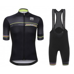 2016 Santini UCI Rainbow Line Black Cycling Jersey And Bib Shorts Set