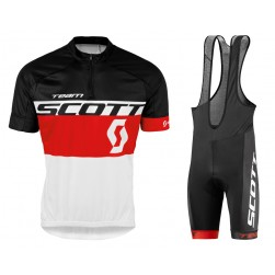2016 Scott Team Black-Red-White Cycling Jersey And Bib Shorts Set