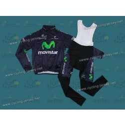 2013 Team Movistar Thermal Cycling Long Sleeve Jersey And Bib Pants Set