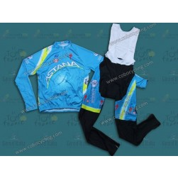 2013 Team Astana Long Sleeve Cycling Jersey And Bib Pants Set