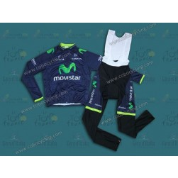 2014 Team Movistar Long Sleeve Cycling Jersey And Bib Pants