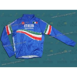 2011 Skoda Italy Champion Blue Thermal Cycling Long Sleeve Jersey