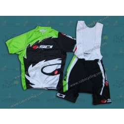 2013 Black And Green Sidi Cycling Jersey And Bib Shorts