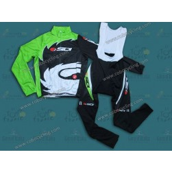 2013 Sidi Black And Green Thermal Long Cycling Jersey And Bib Pants